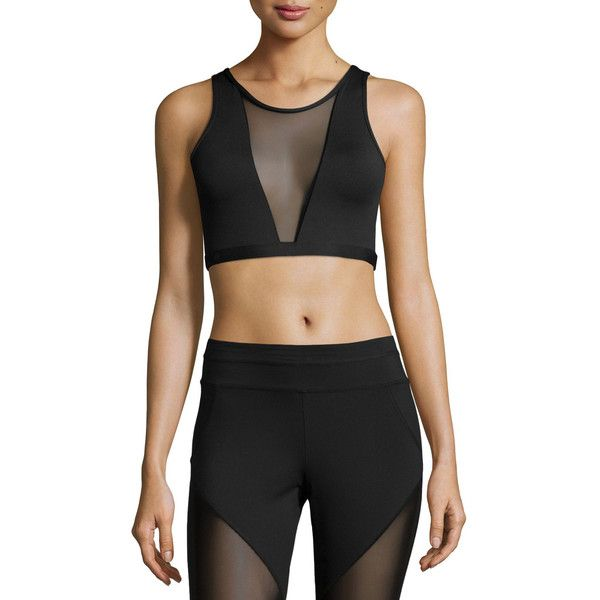 Varley Terri Sports Bra W/Mesh Panel (€56) ❤ liked on Polyvore featuring activewear, sports bras, black, v neck sports bra, terry pullover, varley, sweater pullover and cropped pullover