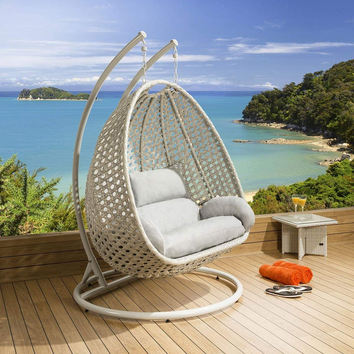 Luxury outdoor 2 person garden pod hanging chair swing