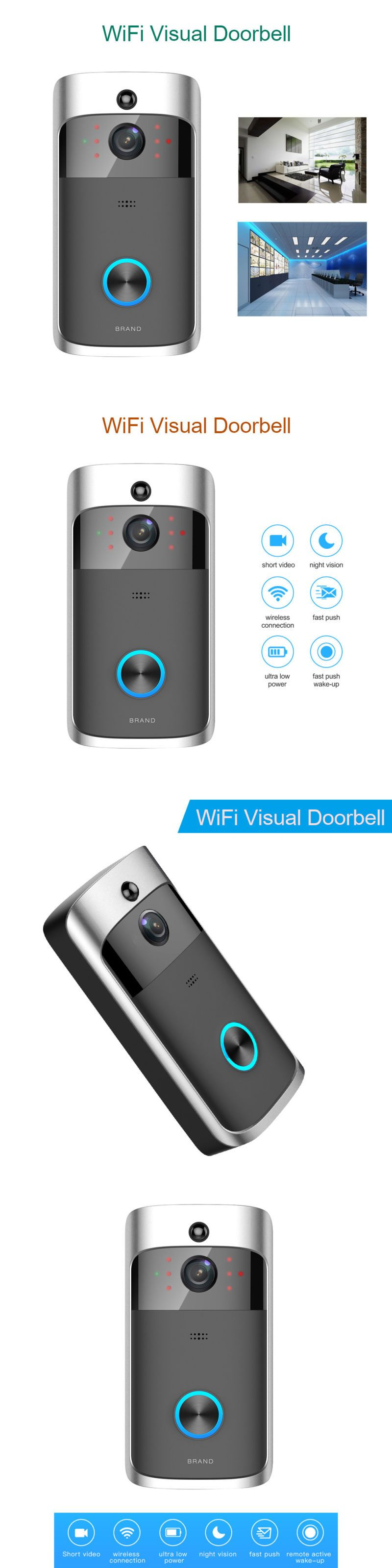 Doorbells 115975: Wireless Wifi 720P Doorbell Visual Camera