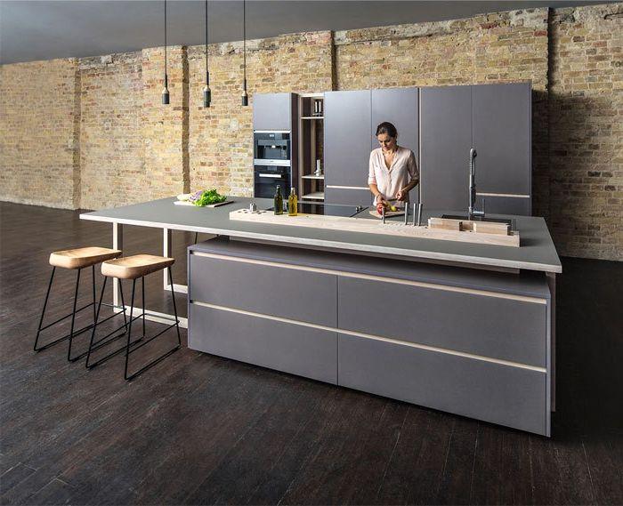 salon cocina, cocina moderna en estilo minimalista, barra y armarios ...