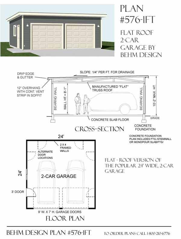 High Quality 2 Car Garage Plan 576 1FT With Flat Roof By Behm Design