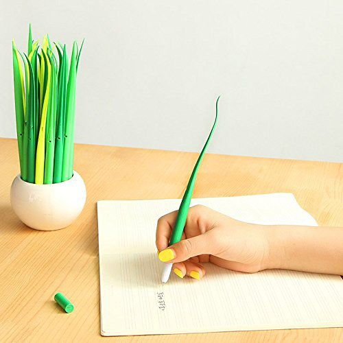 12pcs Grass Leaf Grass-Blade Pen Stationery Sign Pen Surprising Gifts Sale
