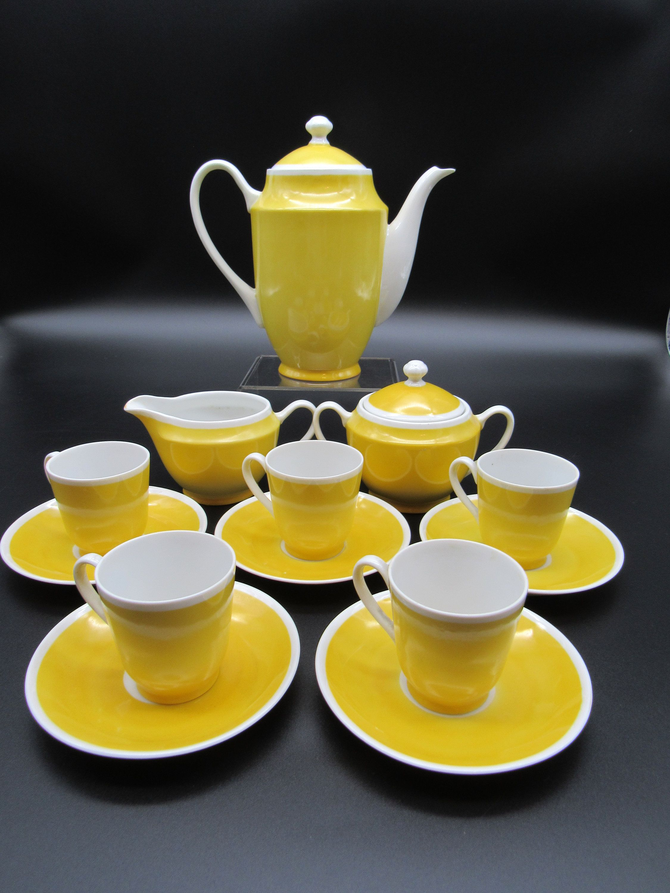 Vintage Czechoslovakia Czech Tea Coffee Set Art Deco Bright Yellow White J B Co In 2021 Coffee Set Yellow Coffee Tea