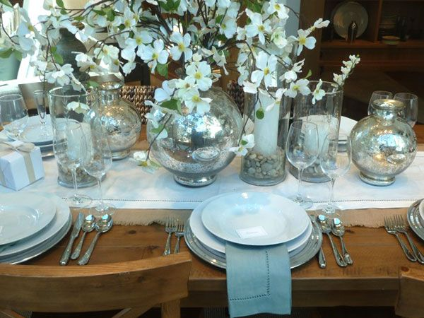 images of black and white tabletop settings | Classic table setting in silver and white from the Pottery Barn. White . & images of black and white tabletop settings | Classic table setting ...