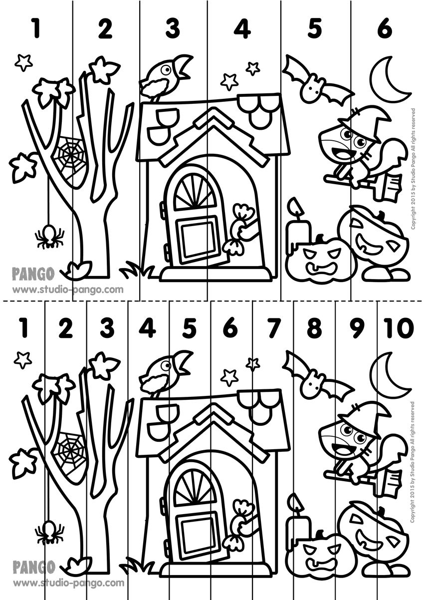 Halloween ! Printable number sequence puzzle. #halloween #number ...