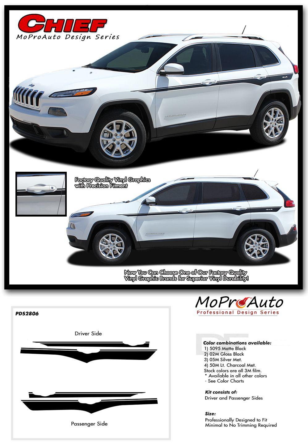 Chief 2013 2020 Jeep Cherokee Stripes Upper Body Line Vinyl Graphics Decal Kit Jeep Cherokee Jeep Vinyl Graphics