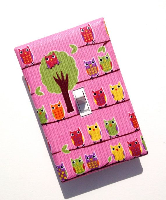 Owl Light Switch Plate Cover / Pink Girls Room / by SSKDesigns, $12.00