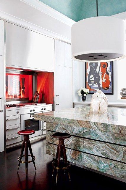 Large green kitchen island  pendant light also best dining images home decor rh pinterest