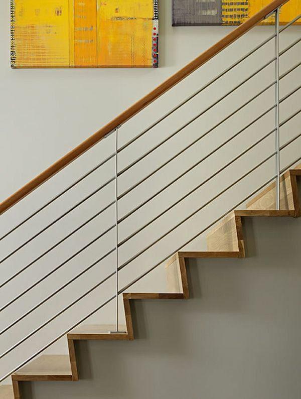 treppen designideen gel nder aus metall und holz treppenhaus pinterest stair railing. Black Bedroom Furniture Sets. Home Design Ideas