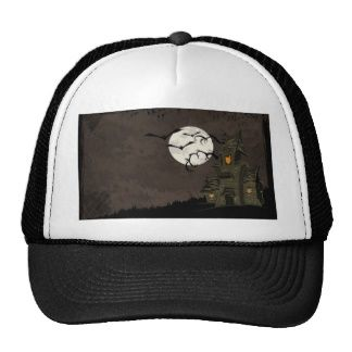 Scary Halloween Night With Bats and Haunted House Mesh Hat