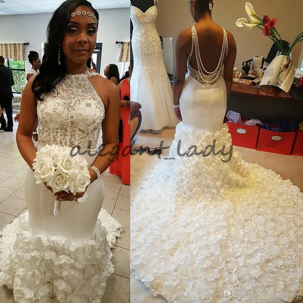 13b9b2d4ba9 Stunning African 3D Flowers Mermaid Wedding Dresses 2018 Back Pearls Beaded  Lace Top Plus Size Latin America Women Bridal Gowns Overskirt Evening Dress  ...