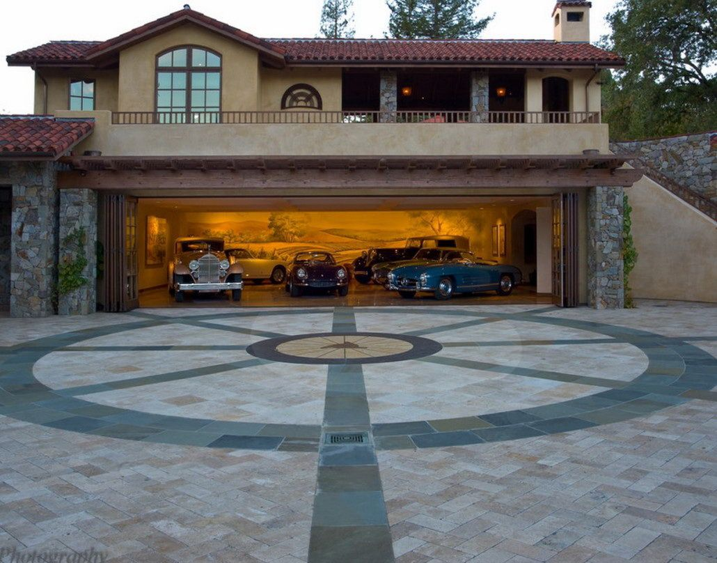 Fantastic modern garage design in deluxe house neoteric for Home design ideas garage