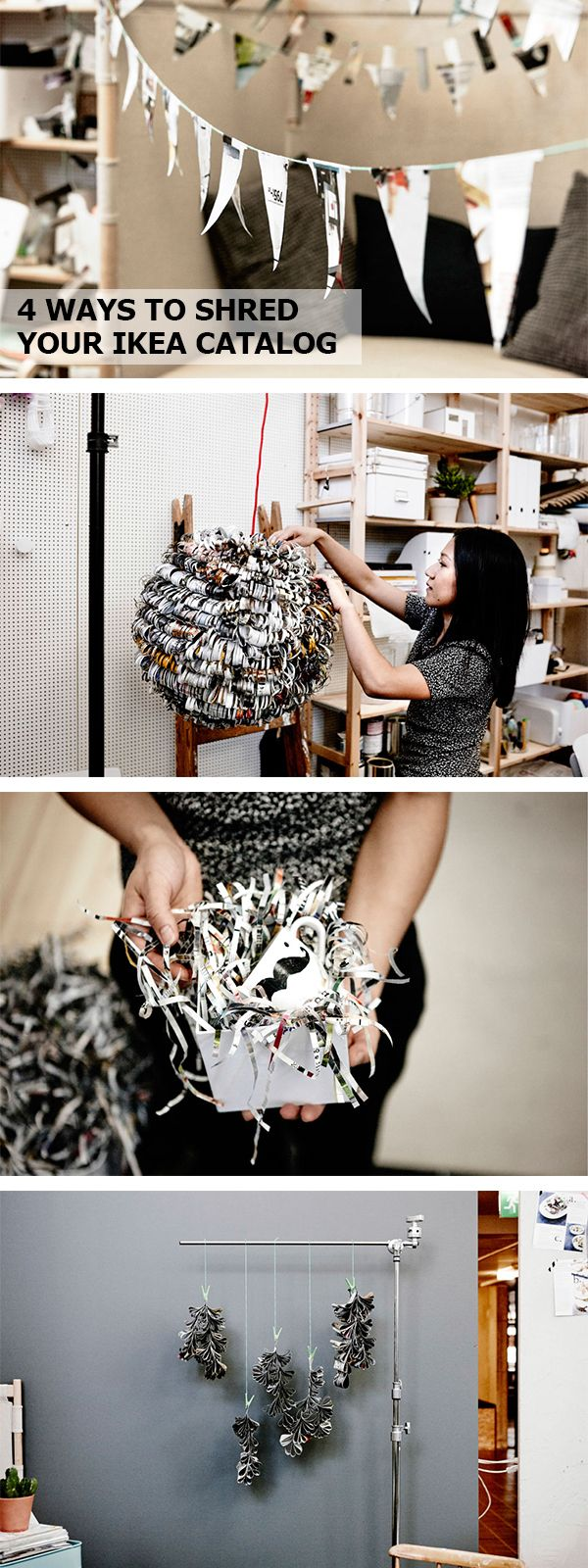 get creative with recycling click for diy ideas to shred your old ikea catalogs ikea diys. Black Bedroom Furniture Sets. Home Design Ideas