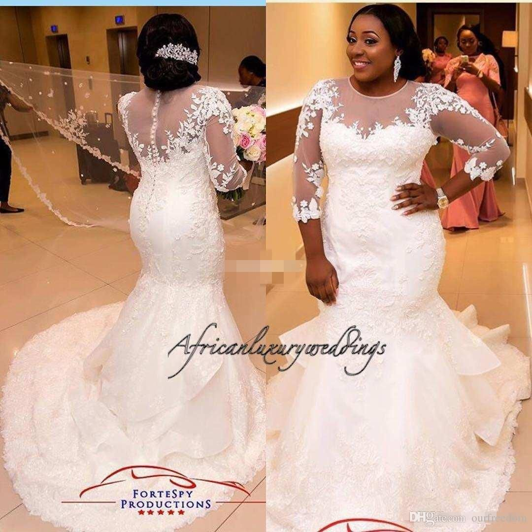 Custom made wedding dress  BellaNaija  Wedding Dresses Jewel Illusion Bodice Court Train