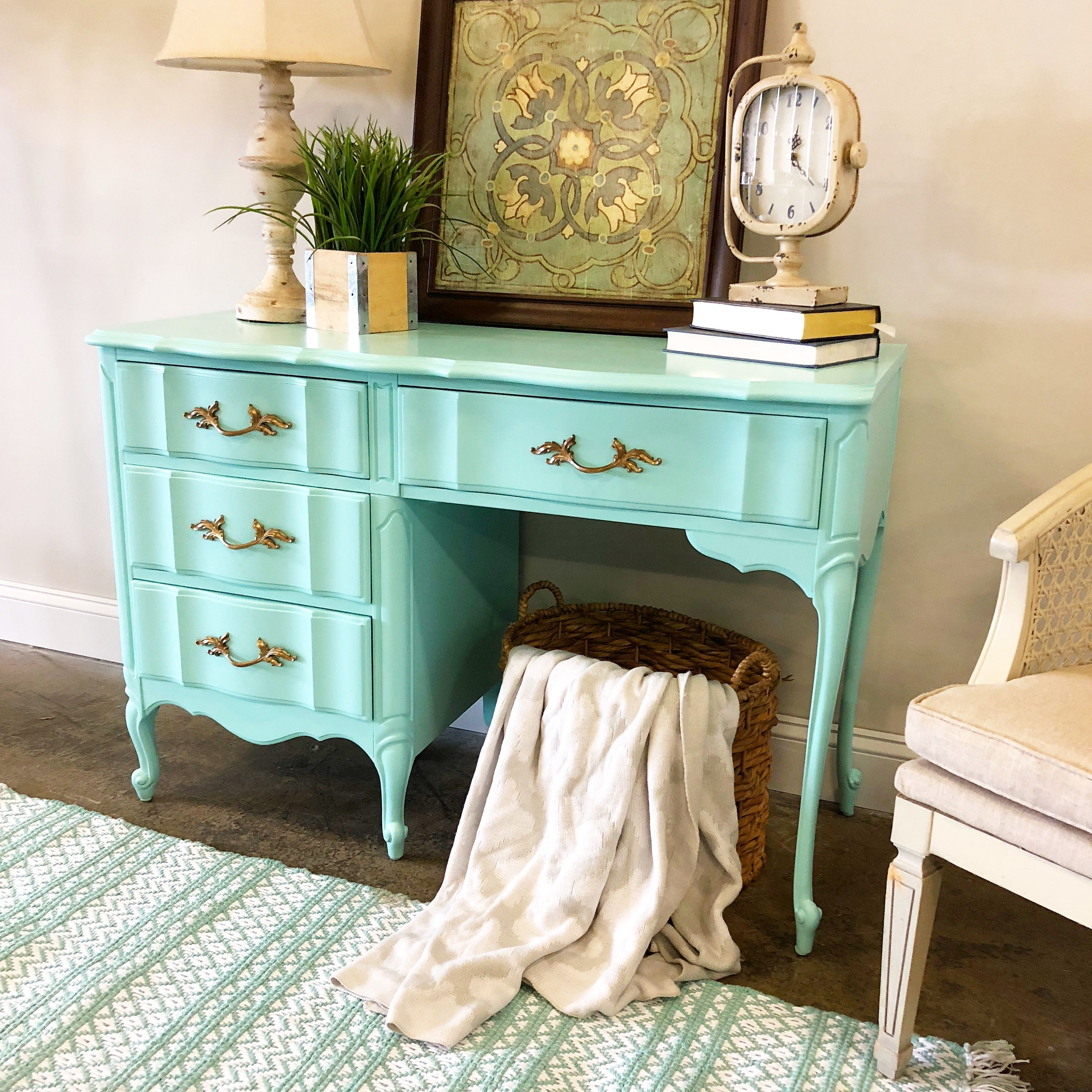 Mint Green Painted French Provincial Vanity Mint Furniture Mint