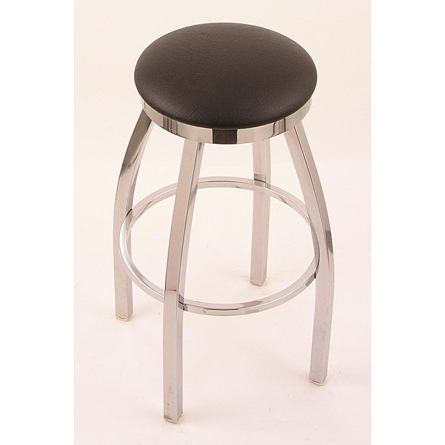 Chrome Single Ring 25 Inch Backless Counter Swivel Stool With Black