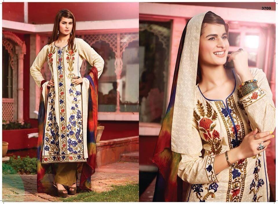 eaf504eb6f Pakistani Designer Tawakkal Fabrics Semi Stitched Emb Shalwar Kameez ...