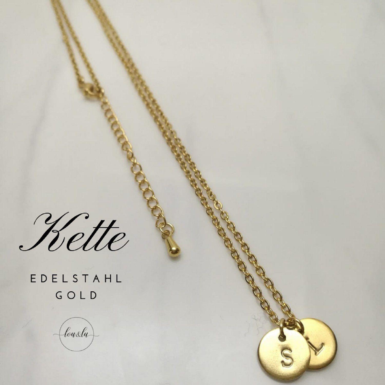 Halskette mit Blumen /& Plättchen Anhänger in Silber Gold Rosé Gold 925 Silber