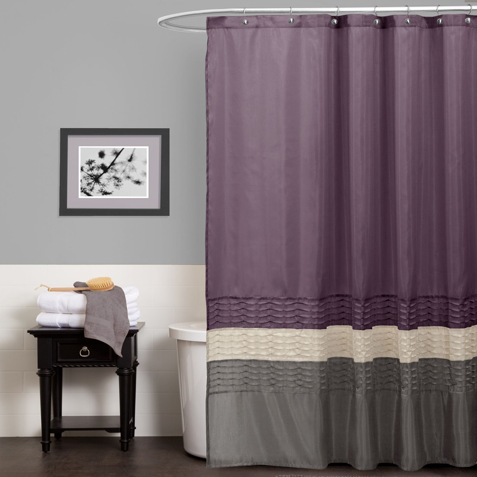 Delightful Lush Decor Mia Purple/Gray Shower Curtain