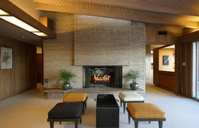Pin By Amber Knorr On Favorite Places Spaces Mid Century Modern House Modern Fireplace Midcentury Modern Fireplace
