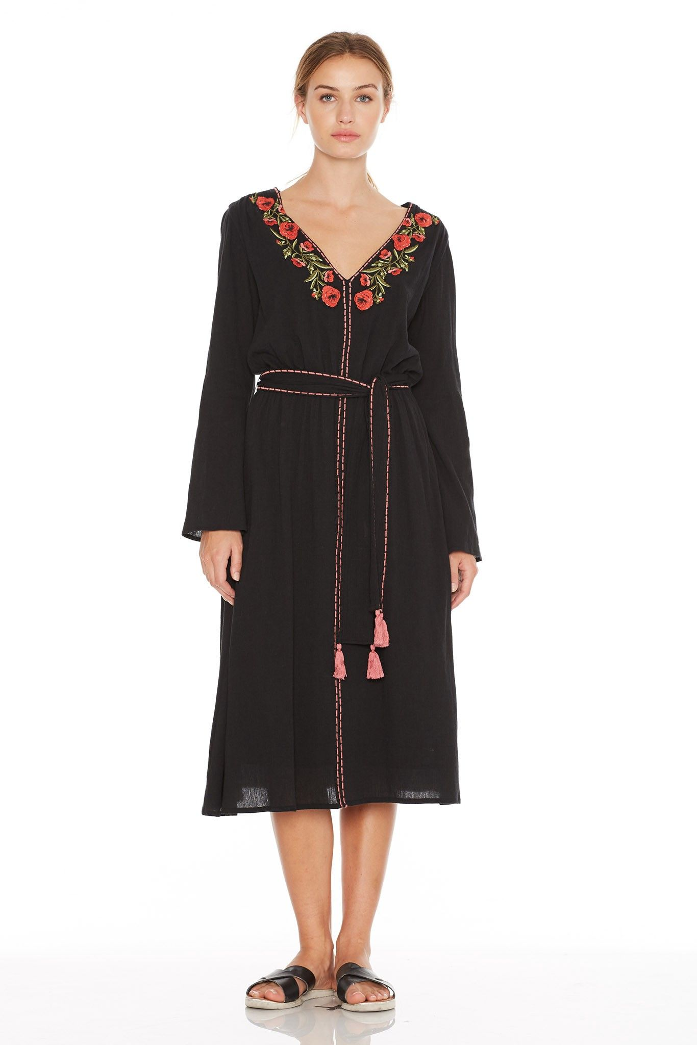 St Roche Fleur Dress Black Cloth