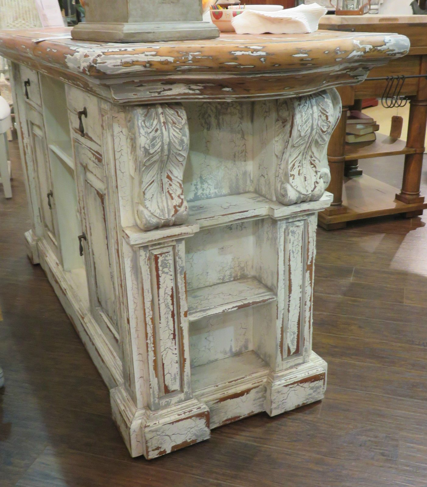 High Quality Distressed French Country Kitchen Island Bar Counter Majestic Fog Corbels