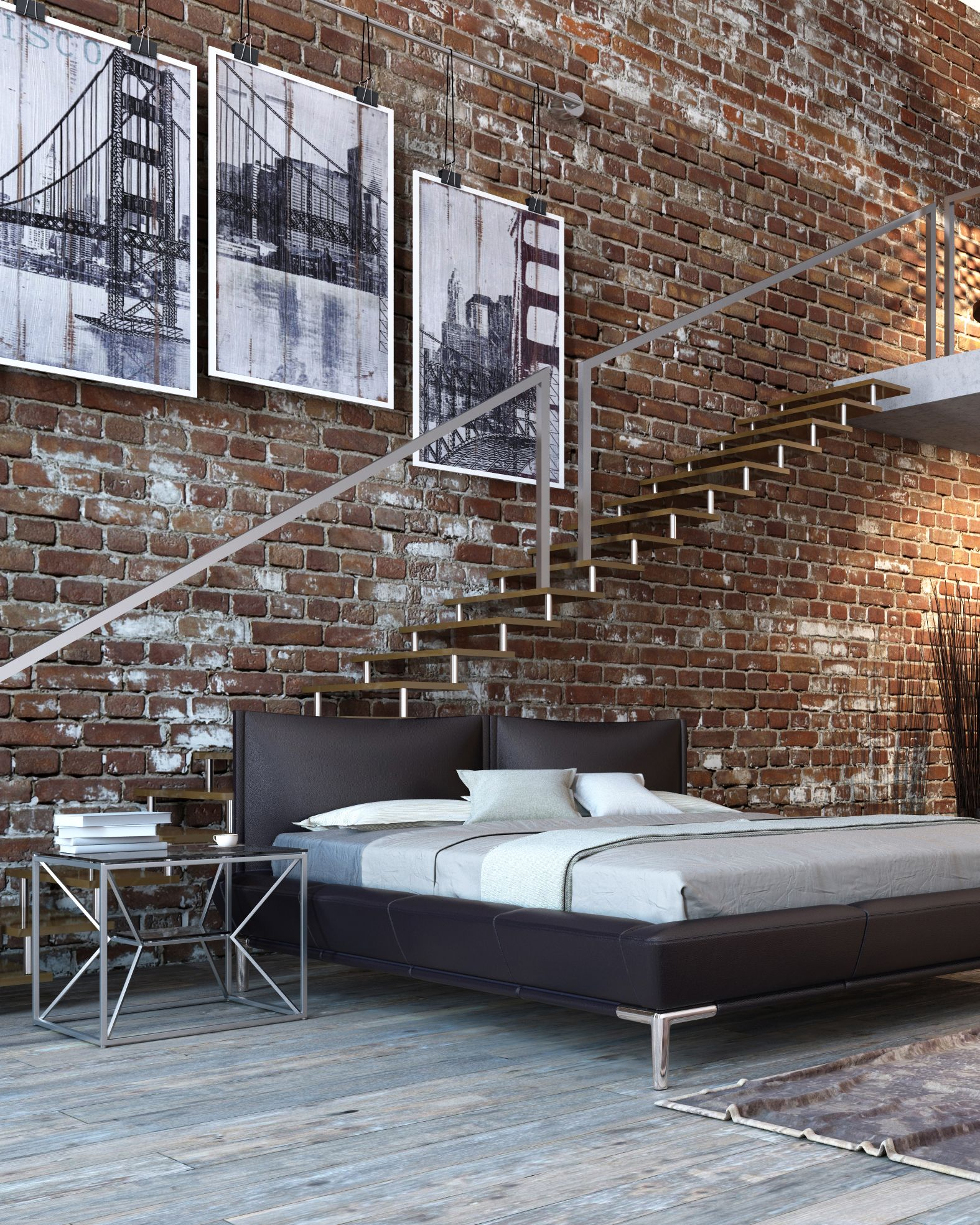 interesting brick loft interior design | Shop this urban rustic and extremely unique look to ...