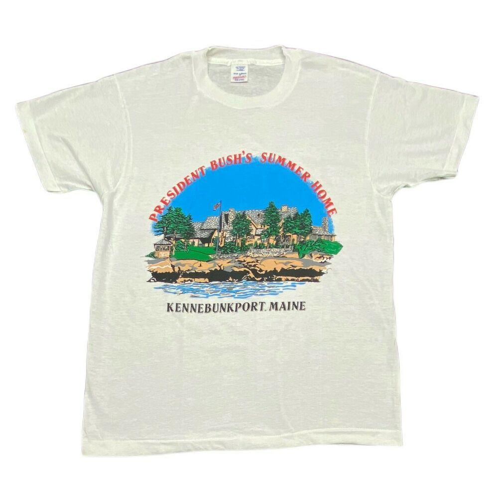 Vintage President George Bush Summer Home Kennebunkport Maine Shirt Mens Size L Breakaway In 2020 Mens Tee Shirts Vintage Clothing For Sale Mens Shirts