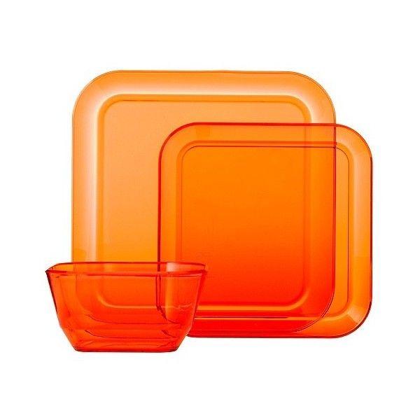 Room Essentials Square 12 Piece Clear Plastic Dinnerware Set - Orange... ($23  sc 1 st  Pinterest & Room Essentials Square 12 Piece Clear Plastic Dinnerware Set ...