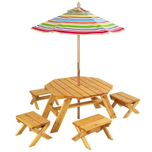 Kidkraft Outdoor Kids Table Four Stool W Umbrella Set Walmart