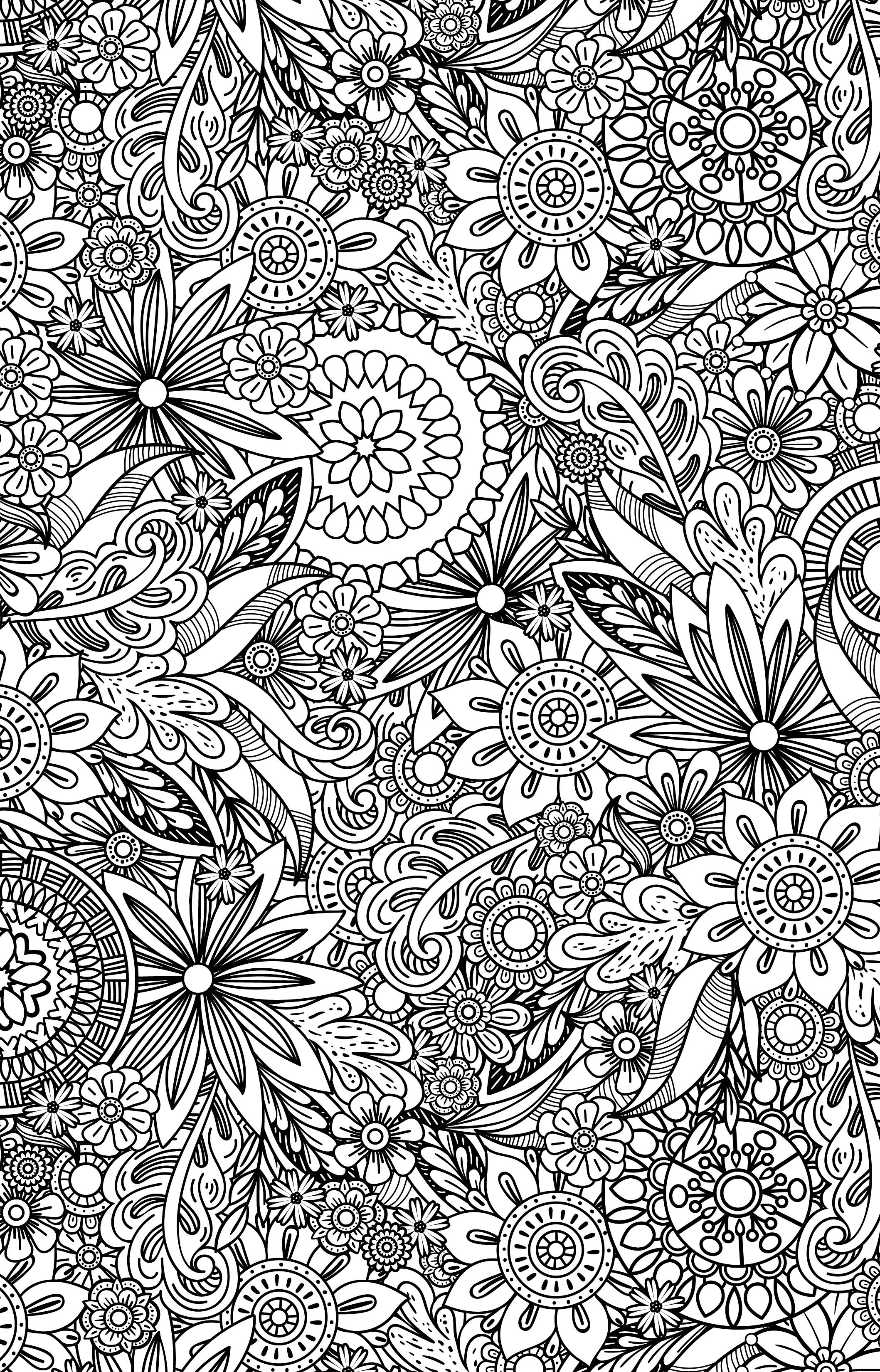 Floral Coloring Pages for Adults Instant Download PDF Printable adult coloring page