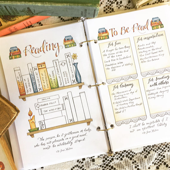 Reading Bookshelf Bullet Journal Spread / Jane Austen Quotes / Download Printable PDF Planner Insert Hand Lettered Hand Drawn Coloring