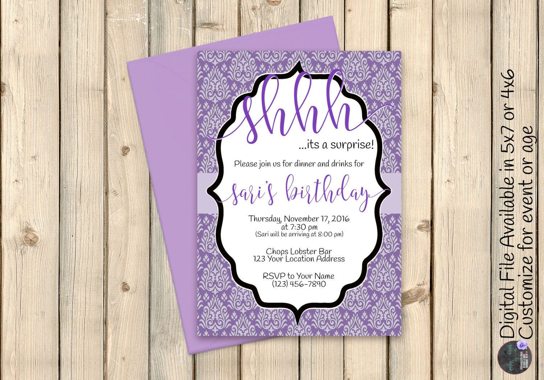 Purple Black Elegant Surprise Party Invitation, Classy Baby Shower ...