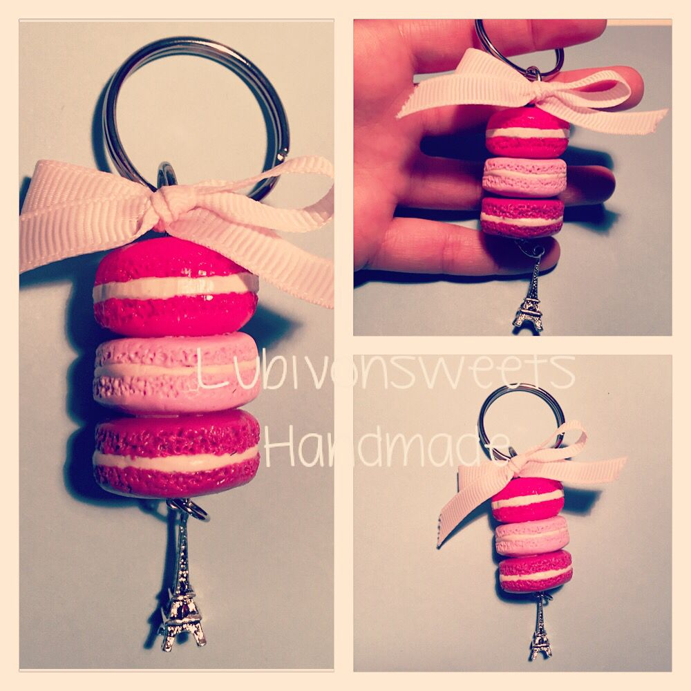 Pink Shaded Clay macaroons. Clay Keychain. Portachiavi con macarons in fimo.