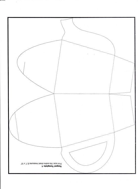 Teapot Paper Template Front Prints Onto An A4 Sheet Of Paper Templates Printable Free Box Template Free Applique Patterns
