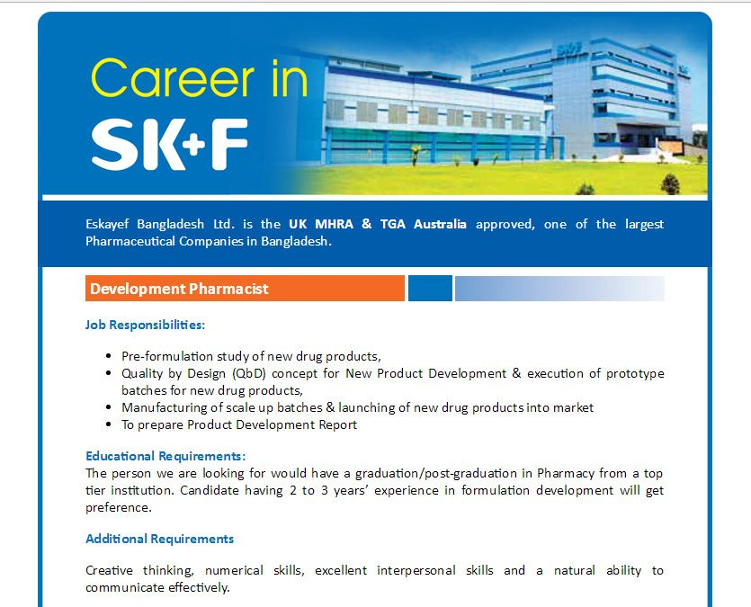 Eskayef Bangladesh Ltd - Position Development Pharmacist - Jobs - pharmacist job description