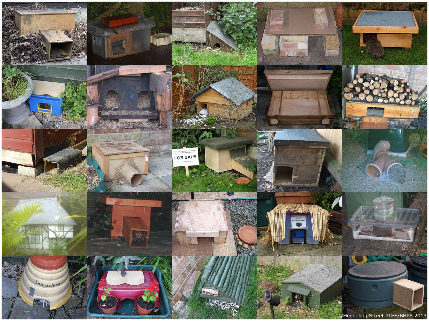 A selection of homes and feeding stations uploaded onto the galleries of Hedgehog Street by proud Hedgehog Champions