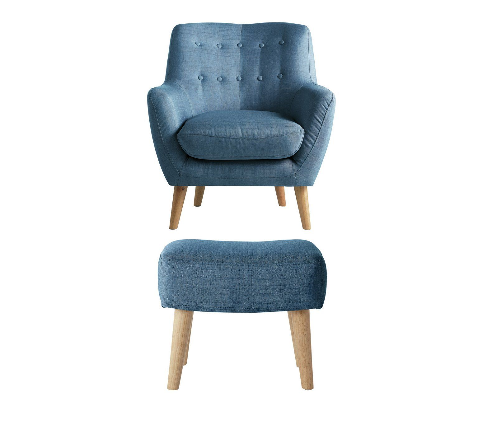 Buy Hygena Otis Fabric Chair and Footstool Blue at Argos