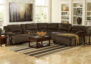 Barryu0027s Furniture Toletta Chocolate Right Facing Chaise End Reclining  Sectional W/ Storage Console, /
