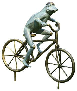 Frog on Bicycle Garden Sculpture contemporary-garden-sculptures