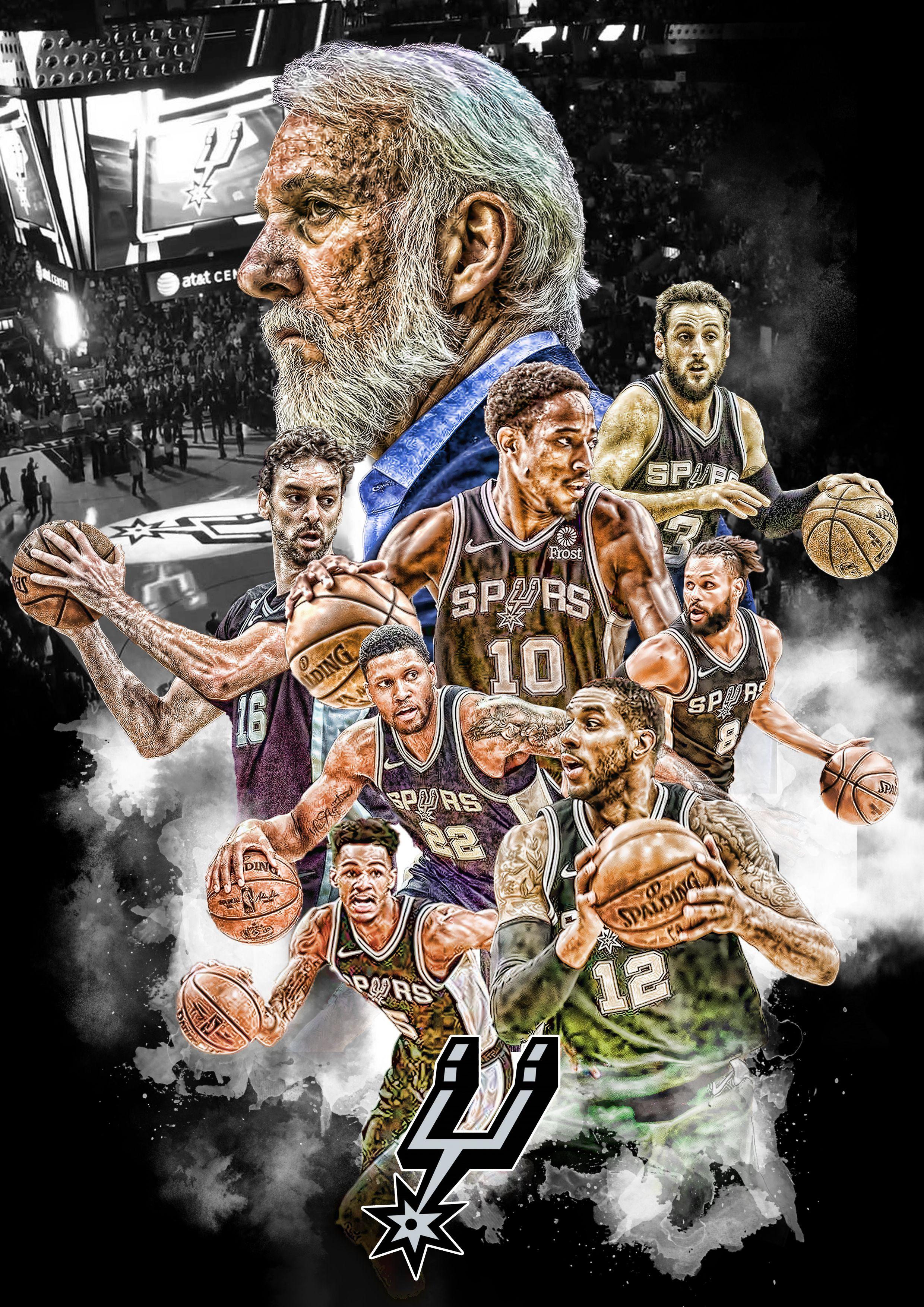Spurs 2018 19 Nba Art Spurs Fans Spurs