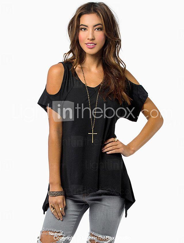 808401b5a De las mujeres Simple Casual Diario Verano Camiseta