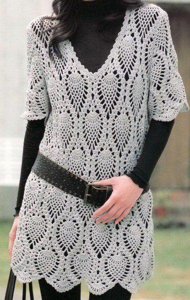 Pineapple crochet tunic
