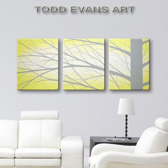Wall Decor SALE Canvas Art Yellow Tree Paintings Hangings Modern Grey And Home 48x20 Original Painting