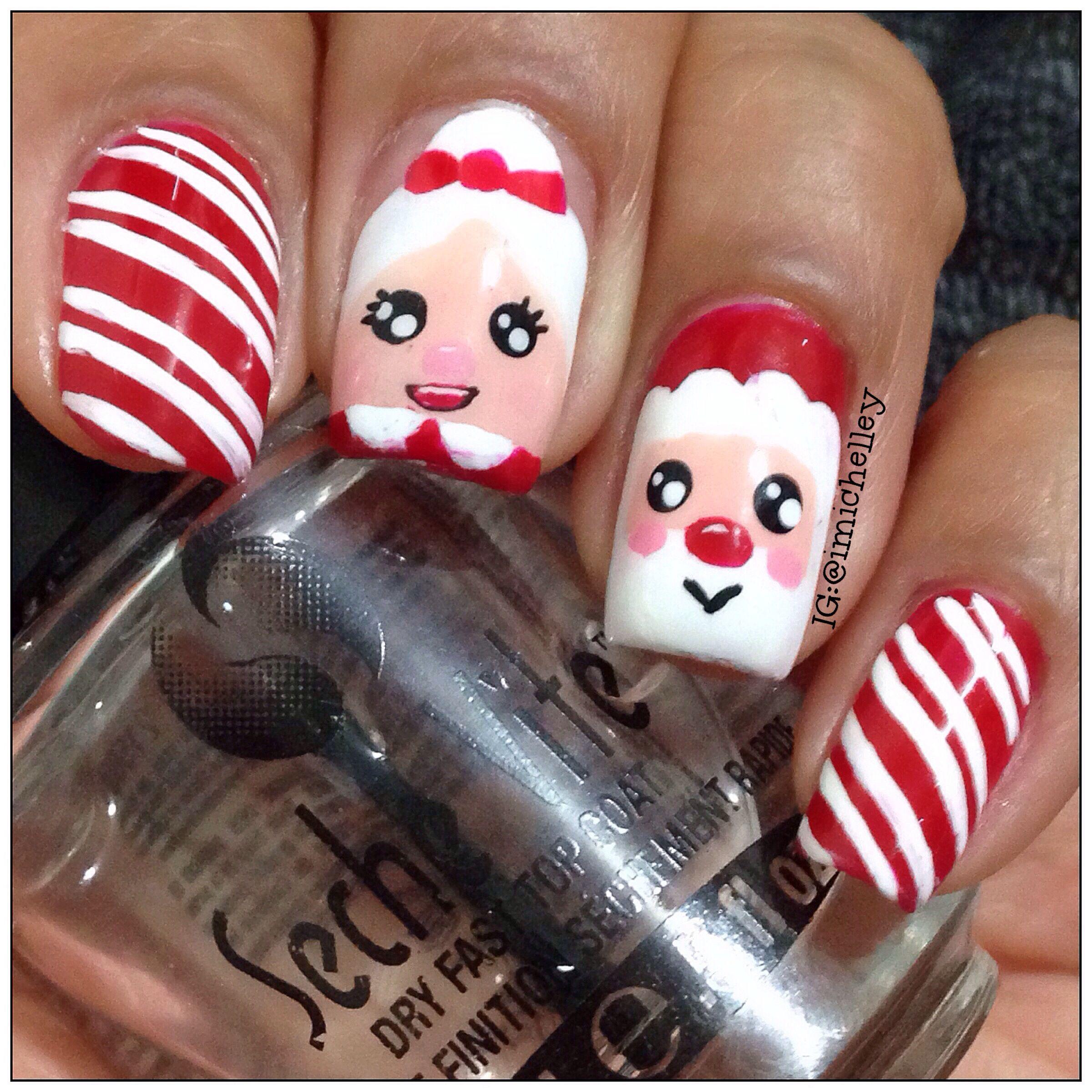 Santa Mrs Claus Xmas Nail Art Christmas Nail Designs Holiday Nail Art