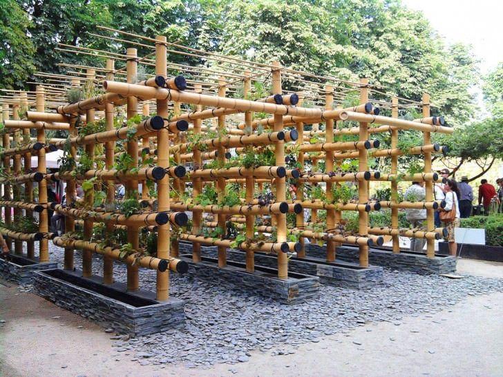 The Babylon Urban Garden Made Out Of Bamboo This Urban Garden Kind Of Babylon Garden Was Made By Amaury Gallon An Bamboo Garden Urban Garden Vertical Garden