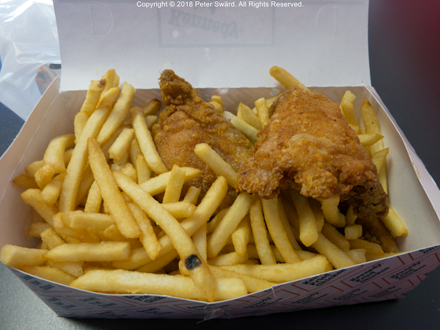 the daily lunch kennedy fried chicken lynn 5 pieces 8 50 all dark with fries this was really good chicken and good value fried chicken fries chicken daily lunch kennedy fried chicken lynn