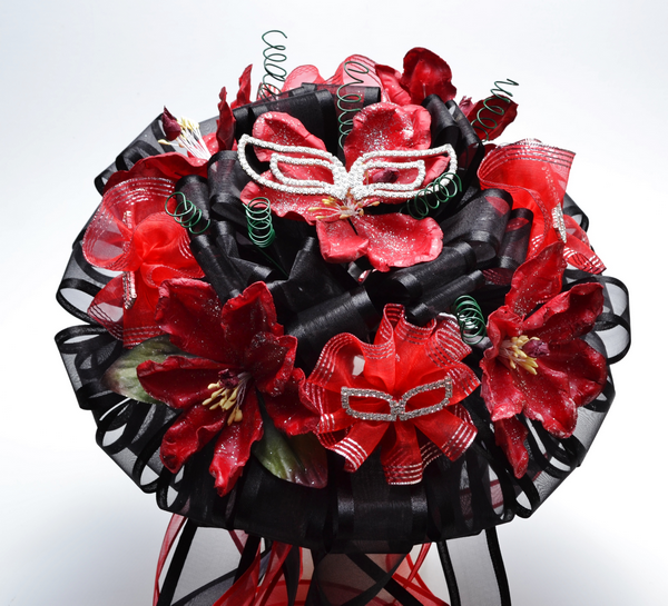 Dreamy red flower bouquet with black and white masks