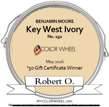 Benjamin Moore Key West Ivory May Random Drawing Winner