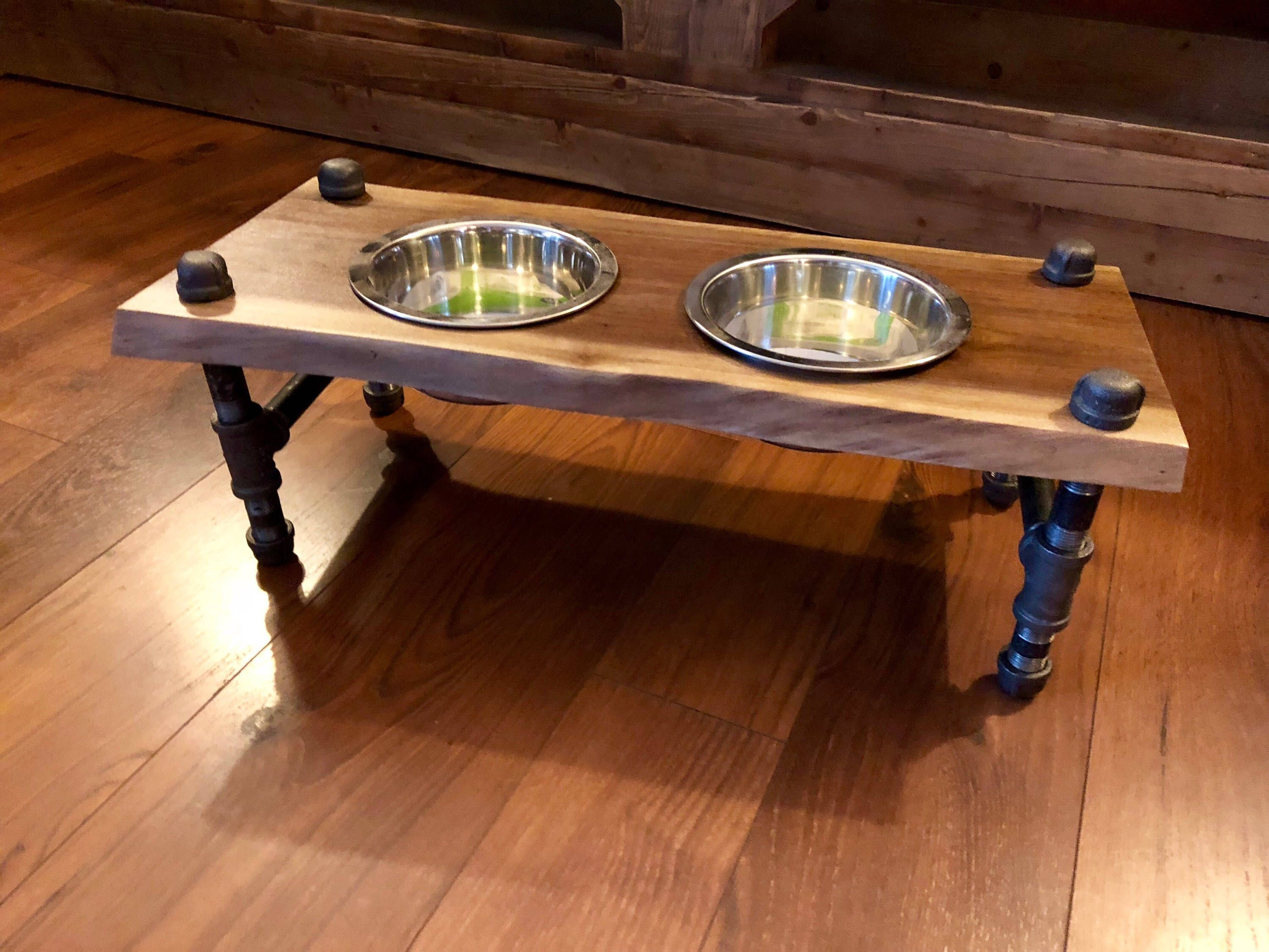 Raised Dog Feeder Raised Dog Bowl Dog Feeder Live Edge Dog